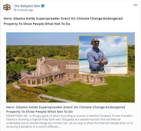 babylon bee obama superspreader event climate change property