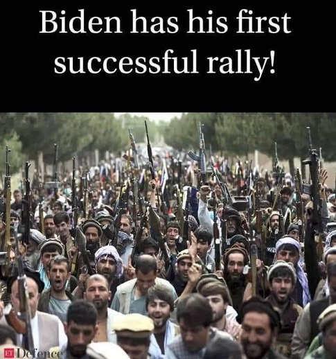 biden first successful rally taliban parade