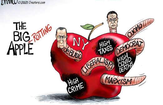 big rotting apple nyc taxes cuomo deblasio marxism covid