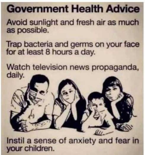government health advice avoid sunlight fresh air trap bacteria propaganda instill fear children