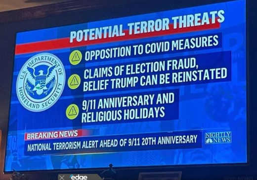 homeland security terror threats opposition covid measures election fraud 911 anniversary