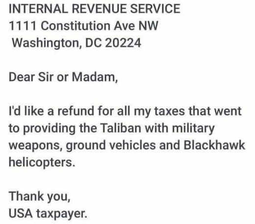 irs letter want refund tax money used to fund taliban