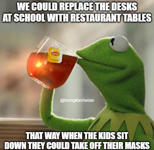 kermit replace desks restaurant tables school kids take off mask