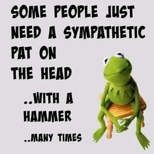 kermit some people sympathetic pat on head with hammer
