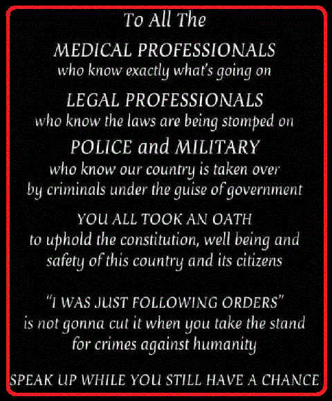 message medical legal military police professionals oath just following orders wont cut it anymore