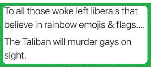 message woke liberals rainbows taliban murder gays on sight