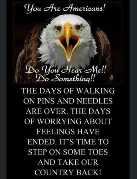 message you are americans days walking pins needles over take country back