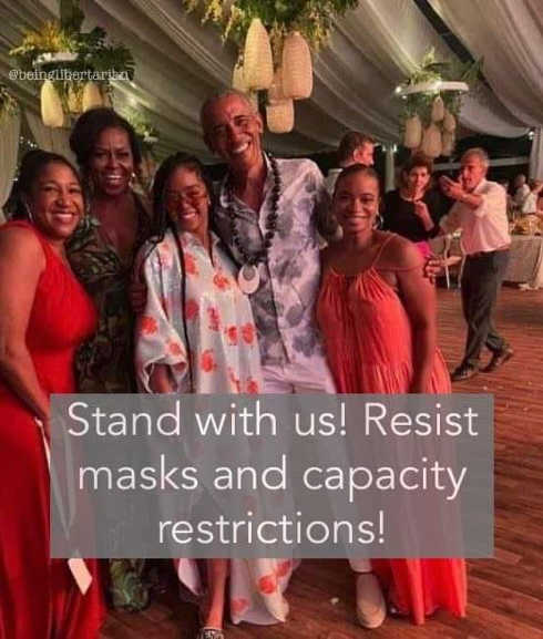 obama party stand with us resist masks capacity restrictions
