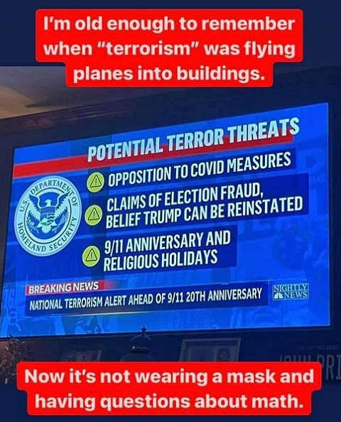old enough remember terrorism flying planes into building now not wearing mask and questions about math