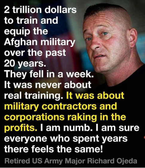 quote richard ojeda 2 trillion spent afghan military contractors corporations