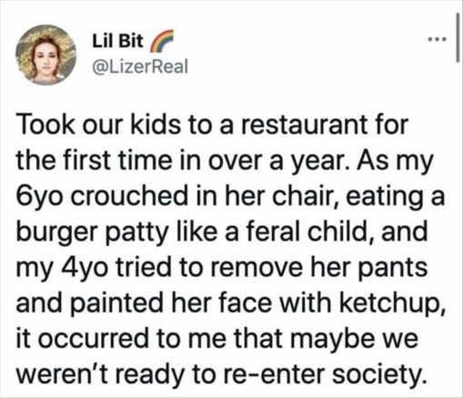tweet lil bit kids restaurant feral child remove pants