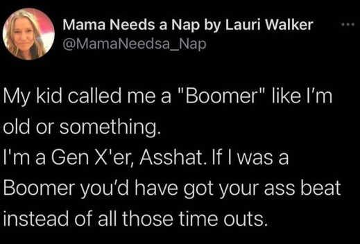tweet mama walker kid called boomer genx ass beat timeouts