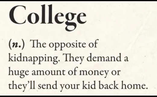 define college opposite of kidnapping demand money or will send kids back