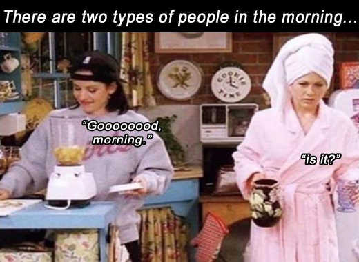 friends good morning two types of people rachel monica