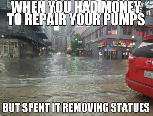 government had money water pumps spent on removing statues