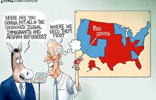 joe biden putting unvaccinated illegal immigrants red states