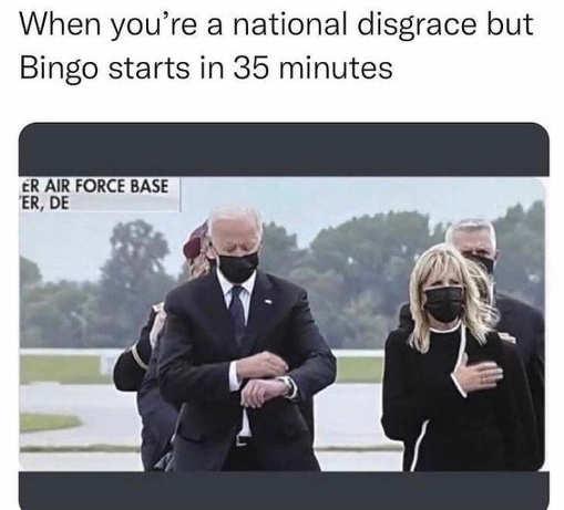 joe biden when national disgrace bingo starts checking watch