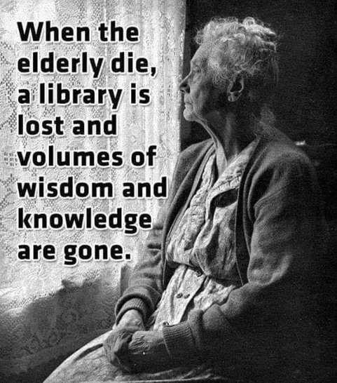 message when elderly dies library wisdom gone