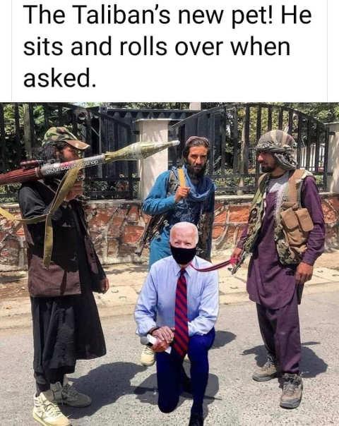 taliban new pet joe Biden kneeling on leash