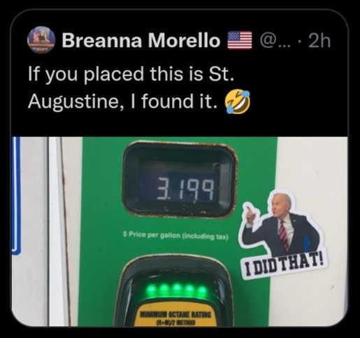 tweet morello st augustine gas prices biden i did that