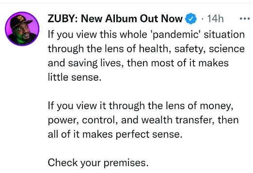 tweet zuby pandemic lens science power control