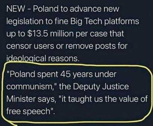 Poland fining big tech censors communism