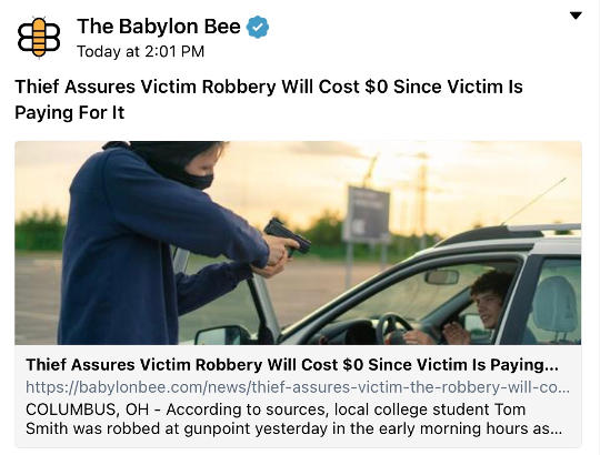 babylon bee thief robbing pay own money no cost