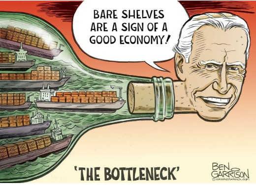bare shelves sign of good economy biden bottleneck