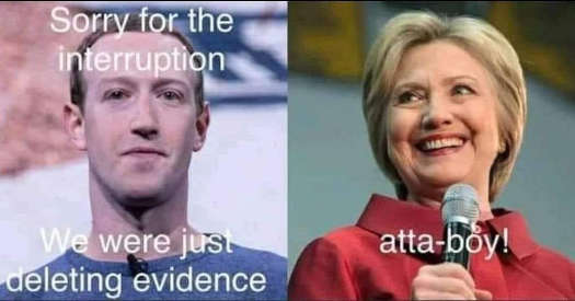 facebook down sorry interruption getting rid evidence hillary clinton