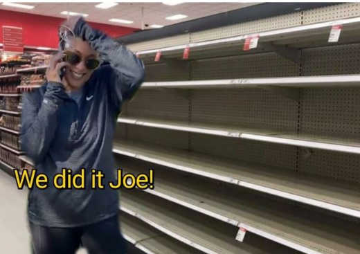 kamala harris we did it joe biden empty shelves