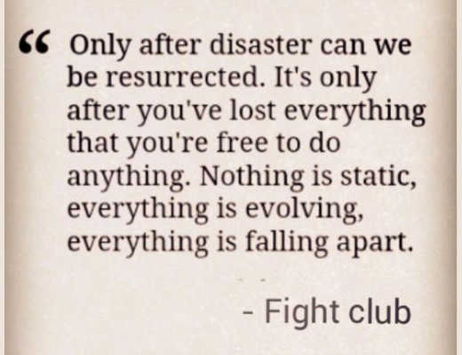 quote fight club derden only after disaster can we be resurrected lost everything free to do anything