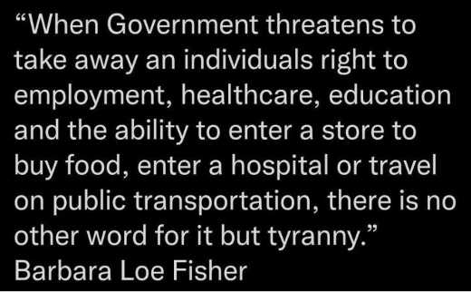 quote government threatens employment healthcare food hospital tyranny barbara fisher
