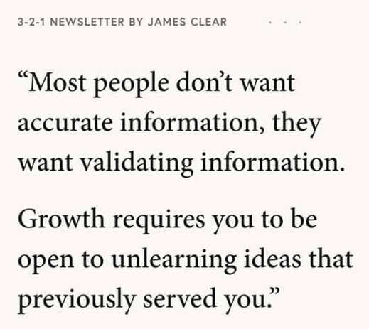 quote james clear people don't want accurate information validating
