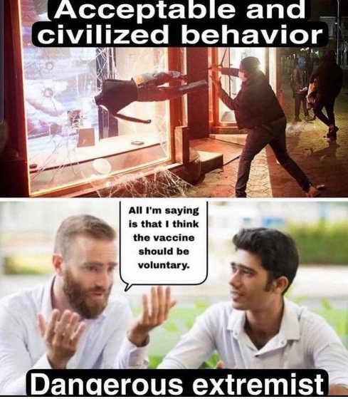 rioting acceptable civilized question vaccine dangerous extremist