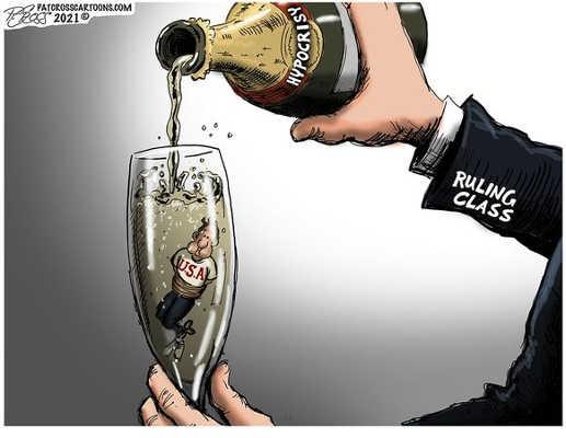 ruling class hypocrisy champagne usa