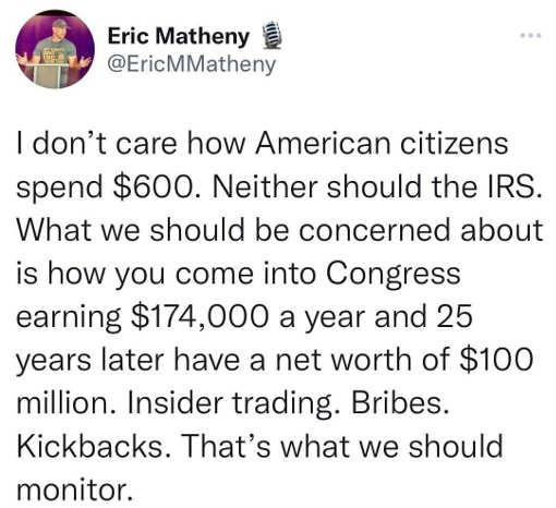 tweet matheny americans 600 irs congress net worth millions insider trading bribes kickbacks