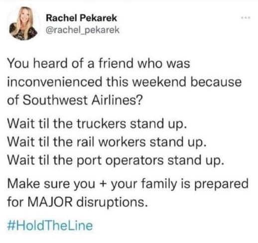 tweet rachel pekarek southwest truckers rail workers port operators