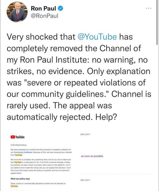 tweet ron paul youtube channel banned