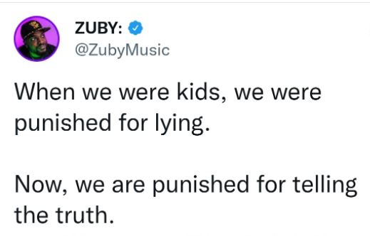 tweet zuby kids punished lying now for telling truth