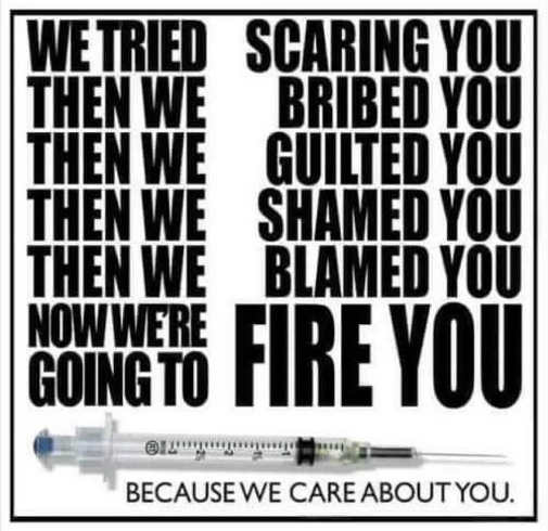 vaccine scare blame bribe now fire you because care