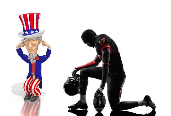 Uncle Sam Ignoring Someone Taking a Knee