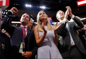 Three of Donald Trump's Five Children Cheering as New York's Delegate Help Him Clinch the GOP Nomination.