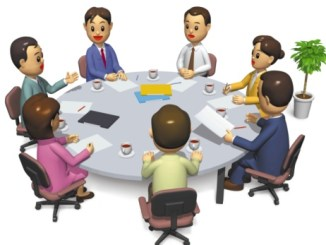 Businesspeople having a meeting, Illustration, CG, High Angle View