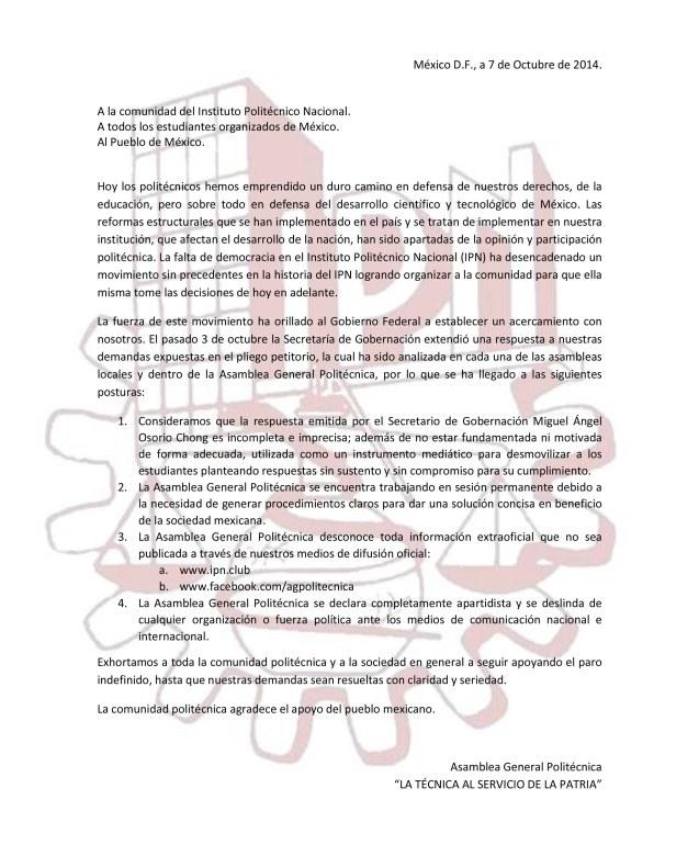 Comunicado de la Asamblea General Politécnica