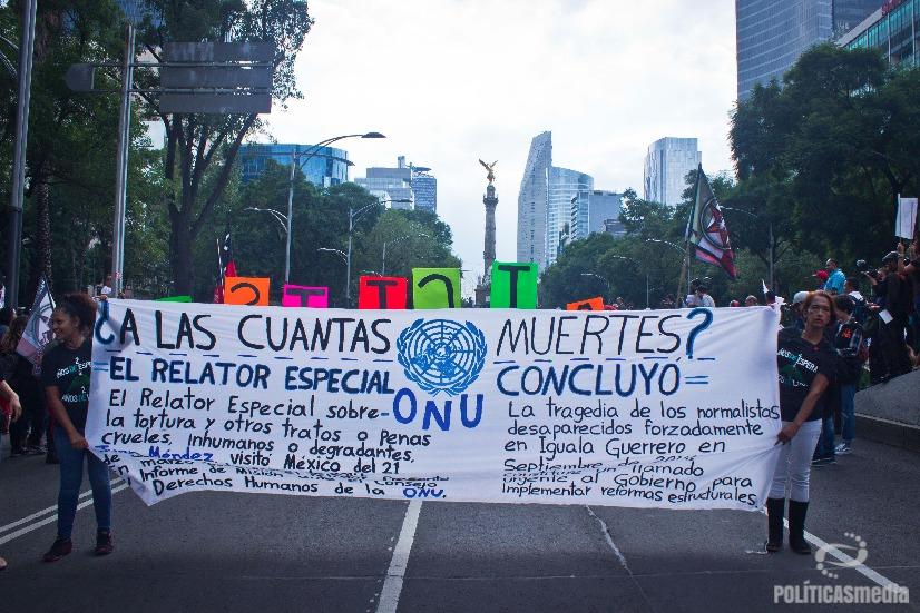Movilización a dos años de Ayotzinapa en la Ciudad de México. Fotografía: Mónica Olivares  Políticas Media.