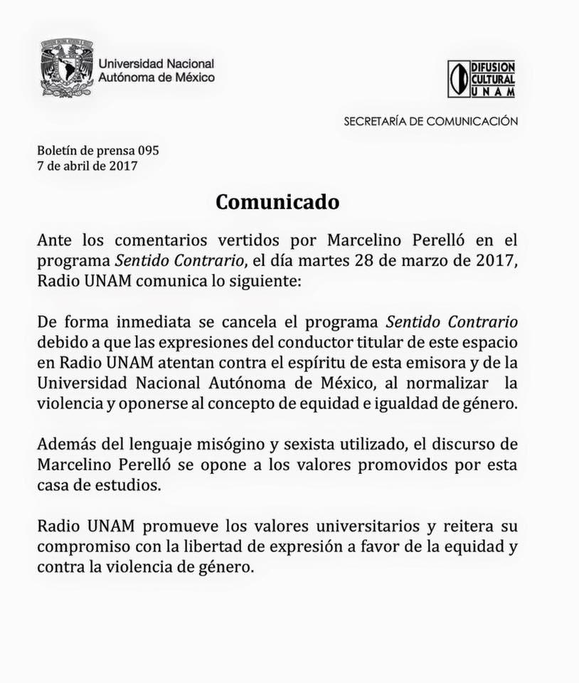 Boletín de prensa de Radio UNAM