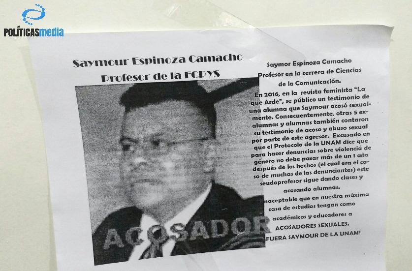 Carteles informativos sobre profesor Seymur Espinoza.