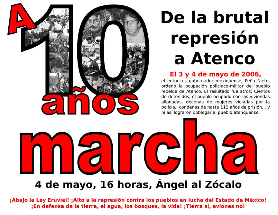 Cartel de invitación a la Marcha del 4 de mayo a 12 años de la represión en Atenco contra integrantes del FPDT de San Salvador Atenco.