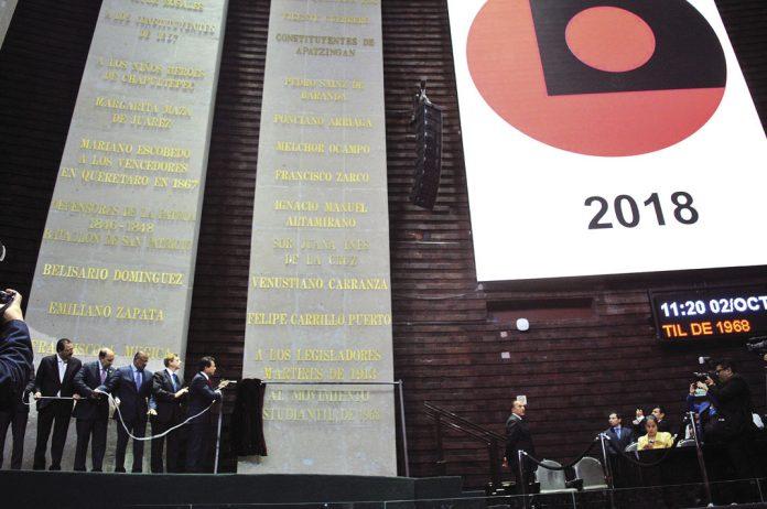 Develación de la inscripción en letras de oro del Movimiento Estidiantil en San Lázaro | Foto: Twitter