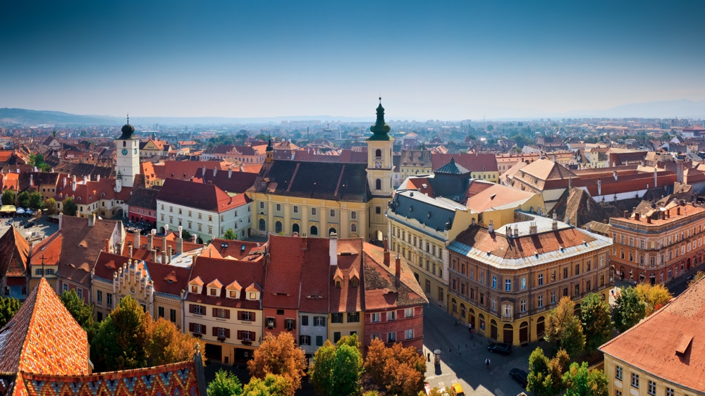 A panoramic shot of the Transylvanian medieval town of Sibiu, Romania